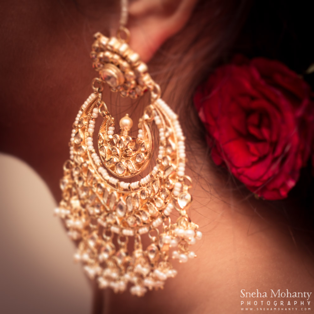 Details shot kundan earrings - Candid Photography